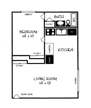 Woodhill Apartments 1 Bedroom Layout
